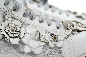 LucyToni Unique UK Design 3D Floral and Lace White Leather Trainers