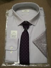 NEXT MEN'S SHIRT WITH TIE AND POCKET SQUARE 3 PART SET UK SIZE 15 BNWT