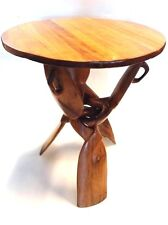 Moroccan Thuya Wood Folding accent Table Thuja Burlwood Tripod Table XL