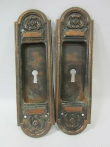 2 Antique Pressed Steel Recessed Pocket Door Handle Escutcheon