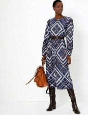 MARKS AND SPENCER PATCHWORK PRINTED WAISTED MIDI DRESS SIZE UK8 BLUE MIX RRP £45