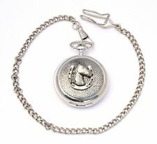 Horse Head in Shoe Design Pocket Watch Gift Boxed FREE ENGRAVING Riding Present