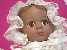 Porcelain African American Wind Up Music Box Crawling Black Baby Doll w Dress