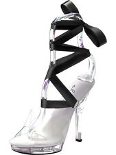 Dancing Girl High Heel Shoes Clear with ribbons Size 6/7 - Ladies Fancy Dress