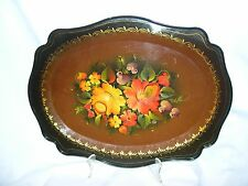 Vintage large Russian floral metal TRAY tole painted floral chippy/scratches