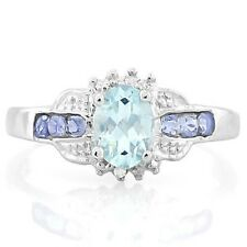 AQUAMARINE TANZANITE DIAMOND SILVER RING 0.80 CWT EARTH MINED STONE HALLMARKED