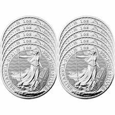 Lot of 10 - 2021 U.K. 2 Pound Silver Britannia .999 1 oz Brilliant Uncirculated