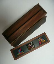 Complete cased hand painted set 12 slides Victorian Magic Lantern Sunday School