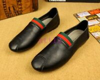 Mens slip on loafer flat heel round toe Pumps casual driving leather New shoes