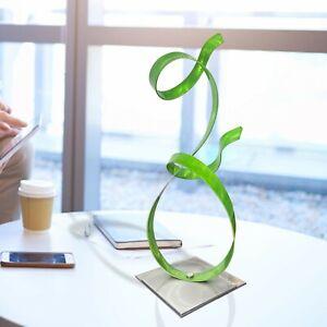 Lime Green Metal Sculpture Modern Art Centerpiece Table Desk Decor Jon Allen