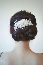White Floral Bridal Hairpiece w. Swarovski Crystals | Handmade | Hair Adornment
