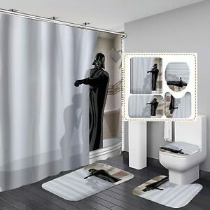 Star Wars Darth Vader Bathroom Rugs Set 4PCS Shower Curtain Toilet Seat Cover