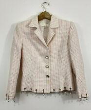 Escada Blazer Size 34 Pink White Tweed Pearl Tassel Trim Career Silver FLAWED