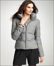 NEW Womens Ann Taylor Wool Flannel 80% Goose Down Quilted Jacket Coat Grey S