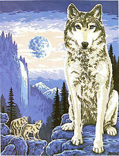 """""""Wolf Lookout"""" Tapestry canvas kit to stitch- 50 x 60cm- the last of edition!"""