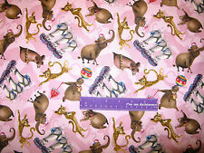 Madagascar 3 Movie Circus Character Toss Mauve Cotton Fabric BY THE HALF YARD