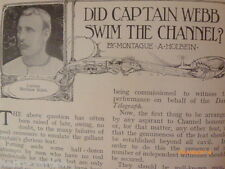 Epsom Derby Horseracing Swimming Did Captain Webb Swim Channel 1907 Old Article