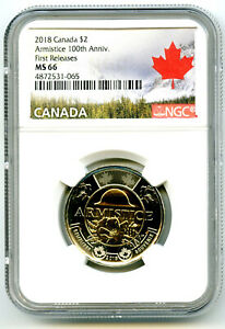 2018 CANADA $2 TOONIE NGC MS66 POPPY ARMISTICE 100TH ANNIVERSARY TWO DOLLAR FR