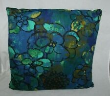 Vintage 70s Pillow Blue Green Retro Groovy Print 15 x 15 Floral Mid Century