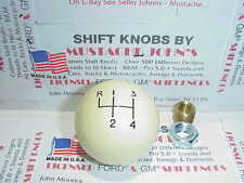 4 speed , Custom made in U.S.A. Shift knob, Reverse top left,  Ivory White 2""