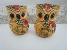 "Owl State Souvenir Salt & Pepper Shakers - Indiana - 2.5"" tall  - Vintage Japan"