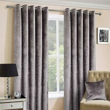 Homescapes Thermal INTERLINED Silver Crushed Velvet Curtains Pair Width 228cm X