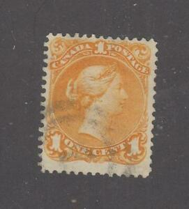 CANADA # 23 1ct  LARGE QUEEN FACE FREE 2 RING VERY FAINT CANCEL CAT VALUE $400