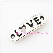 8Pcs Antiqued Silver Tone Words Love Charms Pendants Connectors 6x20mm