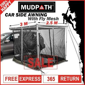 OzEagle Car Side Awning Roof Rack Tent With Fly Mesh Room 2.5M x 3M AU STOCK