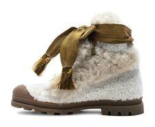 Chloe Eden Shearling Fur Rubber Boots Snow Hiking Winter 10 40