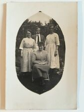 Vintage Postcard - RP Anonymous People - Group In Garden #77