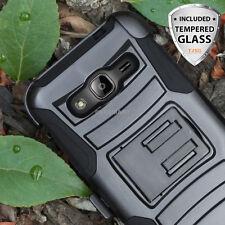 For Samsung Galaxy J7 J700 Rugged Hybrid Belt Clip Holster Case+Glass Screen