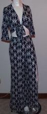 Hommage LA Boho Outfit Womens Shirt Top Medium Pants Small Blue White 2PC NWOT