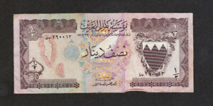 1/2 DINAR FINE BANKNOTE FROM BAHRAIN MONETARY AGENCY 1973 PICK-7