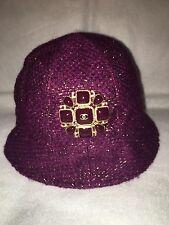 Auth. Chanel Plum  Tweed Gripoix Jeweled Hat