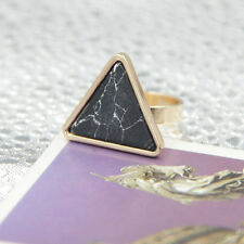Gold Plated Turquoise Geometric Shape triangle Cocktail Ring JZ0244