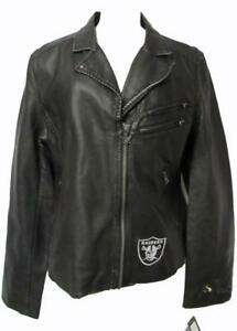 Raiders Womens Size Large Touch by Alyssa Milano Faux Leather Jacket A1 1341