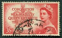 AUSTRALIA 1953 3 1/2d scarlet SG264 used NG Coronation Omnibus Issue #W36