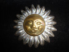 Large Mixed Metal .925 Sterling Silver Brass Sun Flower Face Pin Pendant Mexico
