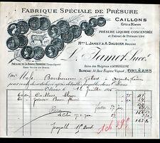 """ORLEANS (45) USINE des MALGROUX / PRESURE """"A. DAUDIER & L. JAMET Succ"""" en 1916"""