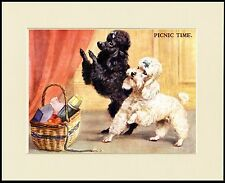 """POODLE """"PICNIC TIME """" CHARMING DOG PRINT MOUNTED READY TO FRAME"""