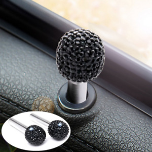 2x Black Aluminum Rhinestone Interior Door Lock Knobs Pins Fit for Car-Truck