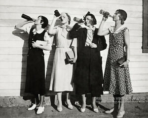 Vintage 1925 Photo 4 Girls Drinking Beer * PROHIBITION ERA Roaring 20s FLAPPERS