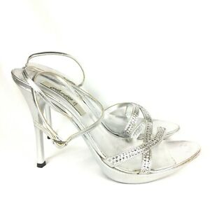 Claudio Milano Leather Shoes Silver Crystal Size 41 Italy (US 10.5) #297