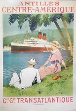 Original Antilles Central America Vintage Travel Poster Ss Flandre Cruise Ship