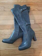 New Life Stride Velocity Memory Foam Heels Zip Knee-High Boots Gray Women Sz 8.5