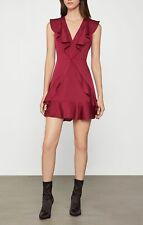 NWT BCBG MAX AZRIA Tyrah Ruffle Trim Dress Size 0 Deep Red