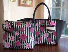 NWT Betsey Johnson Bag in a Bag Purple Floral Black Bone Stripe Tote