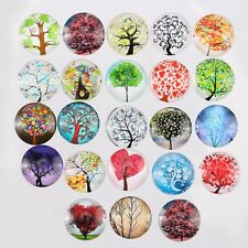 20mm Glass Tree Cabochons Embellishment Cameo Flatback Scrapbooking Dome 10pcs