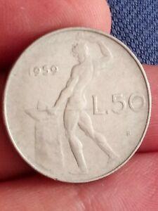 Italy 50 Lire 1959 Rome Stainless Steel Italians Lira L.50 rare Kayihan coins